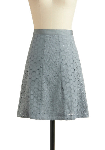 Canoe Dig It? Skirt - Blue, Eyelet, Casual, Spring, Summer, Mid-length, Boho