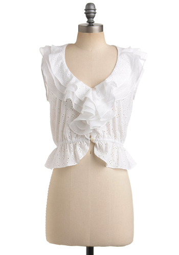 Cumu-luxe Cloud Top - White, Buttons, Eyelet, Ruffles, Tiered, Casual, Cap Sleeves, Spring, Summer, Short