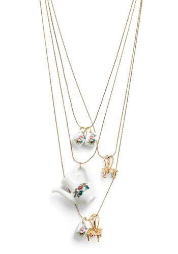 Tea for Three Necklace - White, Gold, Red, Green, Party, Casual