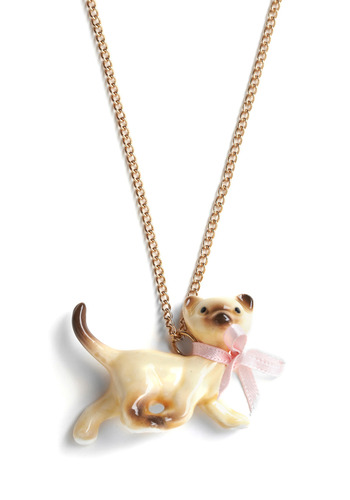Little Kitty Mischief Necklace by And Mary - Tan, Gold, Pink, Bows, Chain, Party, Work, Casual, Vintage Inspired, 50s