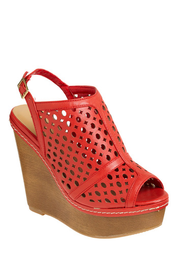 SoHo Shuffle Wedge - Red, Cutout, Casual, Spring, Summer, Urban, Wedge