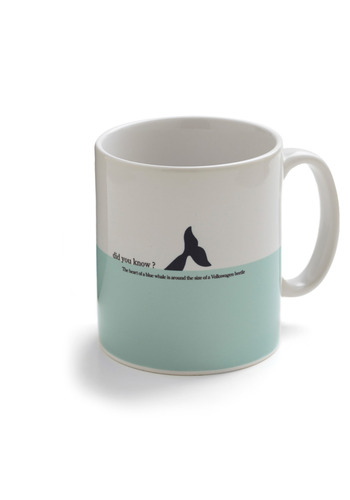 Gee, Quiz Mug in Whale - Blue, White, Black, Print with Animals, Dorm Decor
