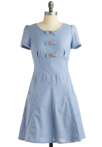 Love Bow-t Dress | Mod Retro Vintage Solid Dresses | ModCloth.com :  bows skirt pockets paneled cotton blend