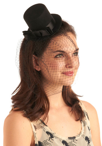 Hat a Great Time Fascinator - Black, Solid, Bows, Special Occasion, Prom, Wedding, Party, Casual, Menswear Inspired, Vintage Inspired
