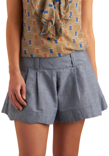 Chambray of Light Shorts | Mod Retro Vintage Shorts | ModCloth.com :  seams faux denim poufy belt loops