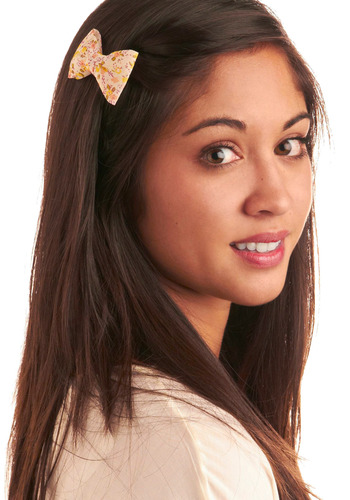 Bow a Thing or Two Hair Clip - White, Multi, Yellow, Green, Pink, Floral, Bows, Casual, Spring, Summer