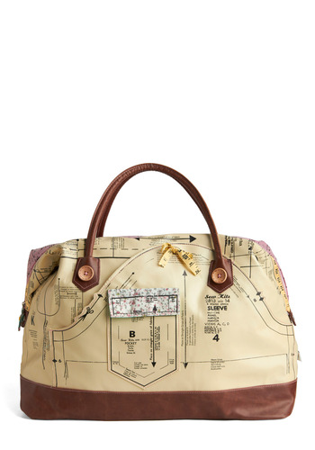 Holding Pattern Overnight Bag by Disaster Designs - Multi, Green, Pink, Brown, Black, Bows, Buttons, Exposed zipper, Pockets, Casual, Travel, Pastel, International Designer, Graduation