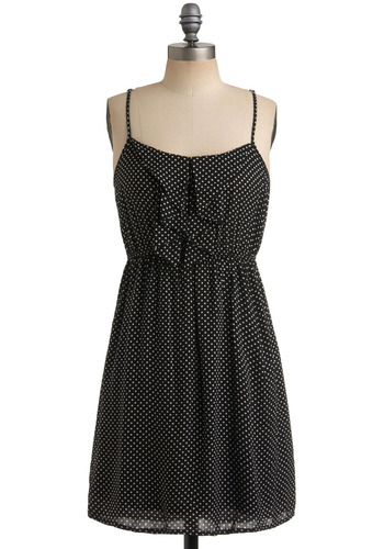 Hanging Streamers Dress - White, Polka Dots, Ruffles, Casual, Vintage Inspired, Urban, A-line, Spaghetti Straps, Racerback, Black, Summer, Mid-length