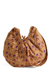 It's Indie Bag - Tan, Purple, Brown, Print, Pockets, Casual, Vintage Inspired, 70s, Spring, Summer, Boho
