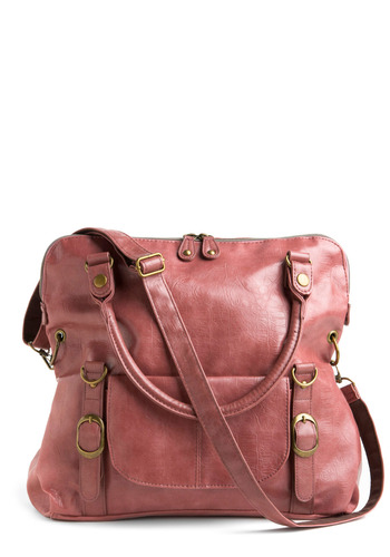 Earthen Rose Bag - Pink, Gold, Solid, Buckles, Exposed zipper, Pockets, Studs, Work, Casual, Faux Leather, Top Rated