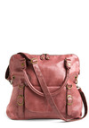 Earthen Rose Bag - Pink, Gold, Solid, Buckles, Exposed zipper, Pockets, Studs, Work, Casual, Faux Leather