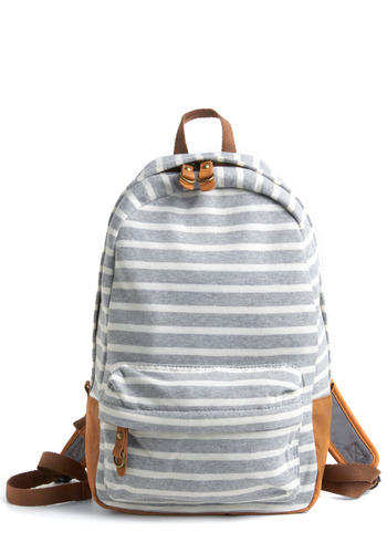 Walking Day Trip Backpack - Grey, Tan / Cream, White, Stripes, Pockets, Casual, Summer, Eco-Friendly