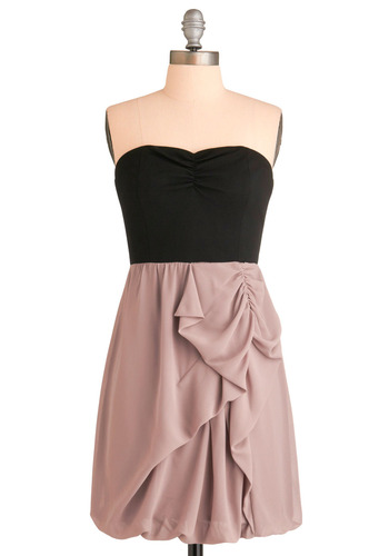 So Frappe Together Dress - Exposed zipper, Ruffles, Casual, Twofer, Strapless, Black, Cream, Short