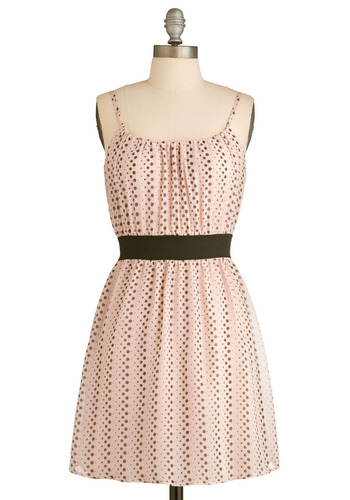 Afternoon Bubble Tea Dress - Pink, Black, Polka Dots, Casual, A-line, Spaghetti Straps, Summer, Print, Short, Pastel, Daytime Party
