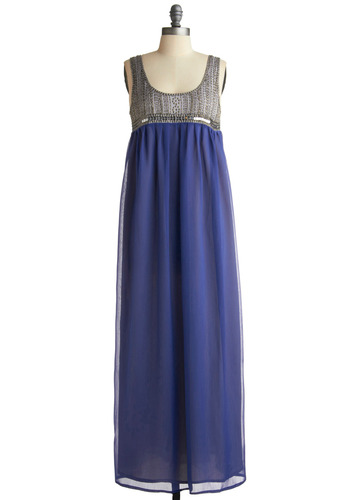 Nile Cruise Dress - Blue, Grey, Beads, Sequins, Casual, Empire, Maxi, Tank top (2 thick straps), Spring, Summer, Long
