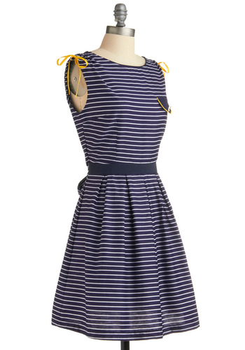 Pride of the Sea Dress by Trollied Dolly - Blue, Yellow, White, Stripes, Bows, Buttons, Pleats, Pockets, Casual, Nautical, A-line, Sleeveless, Spring, Summer, Mid-length, International Designer