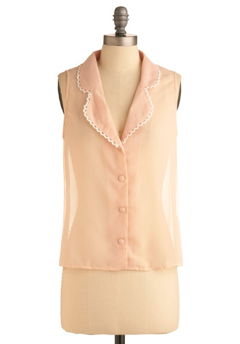 Think Mink Pink Shirt by Mink Pink - Pink, Solid, Buttons, Crochet, Trim, Casual, Sleeveless, Spring, Summer, Mid-length