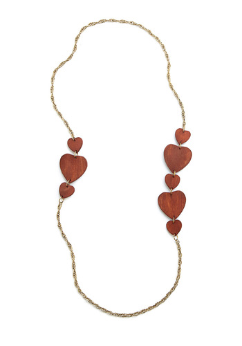 Wood You Be Mine Necklace - Brown, Gold, Casual, Boho