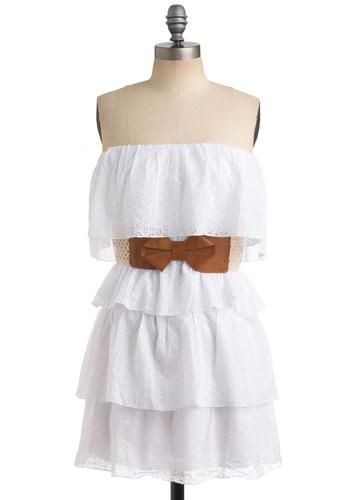 Hometown Visit Dress - Solid, Eyelet, Casual, A-line, Spring, Summer, White, Tiered, Strapless, Short