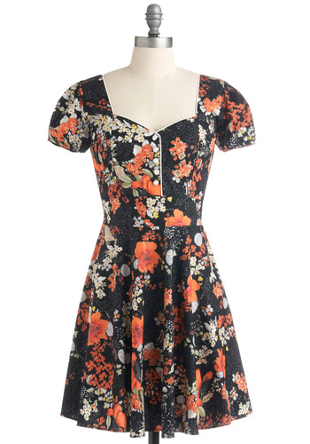Blossom of the Evening Dress by Trollied Dolly - Black, Multi, Orange, Yellow, Green, White, Floral, Casual, A-line, Short Sleeves, Spring, Summer, Mid-length, International Designer