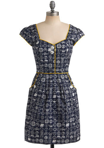 Postmistress General Dress by Trollied Dolly - Blue, Yellow, White, Novelty Print, Buttons, Pockets, Trim, Casual, Nautical, Sheath / Shift, Cap Sleeves, Spring, Summer, Mid-length, International Designer