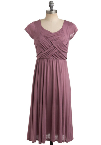 Weavin' on a Jet Plane Dress in Mauve - Purple, Pink, Solid, Casual, A-line, Short Sleeves, Long, Wedding
