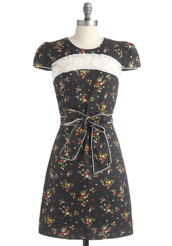Bushel and Bounty Dress by Trollied Dolly - Multi, Orange, Yellow, Green, Blue, White, Polka Dots, Floral, Lace, Casual, A-line, Short Sleeves, Spring, Summer, Black, Rockabilly, Mid-length, International Designer