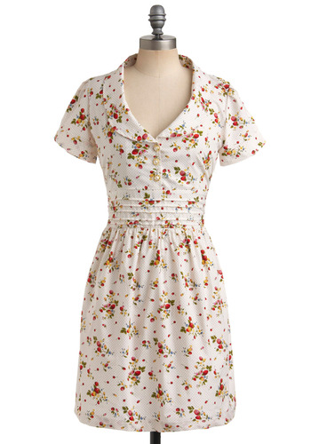 By the Bushel Dress by Trollied Dolly - White, Multi, Polka Dots, Floral, Buttons, Pleats, Casual, A-line, Shirt Dress, Short Sleeves, Spring, Summer, Mid-length, International Designer