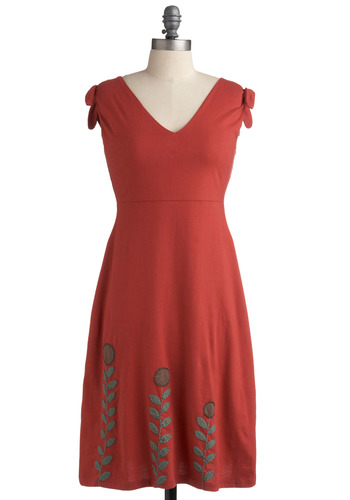 Twist and Sprout Dress - Red, Green, Brown, Floral, Casual, A-line, Cap Sleeves, Spring, Summer, Embroidery, Boho, Long