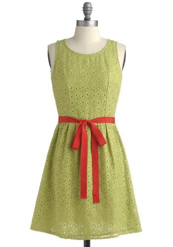Limeade Stand Dress | Mod Retro Vintage Printed Dresses | ModCloth.com :  sash waist sweet open back lime