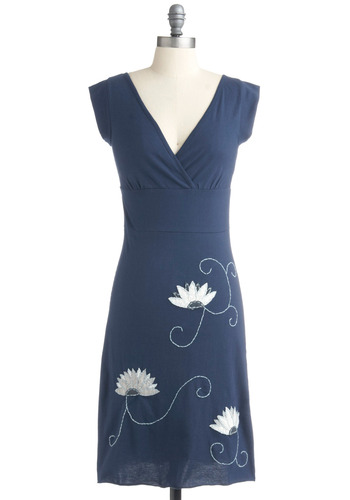 Flowering in Fair Trade Dress - Blue, White, Floral, Casual, Sheath / Shift, Cap Sleeves, Spring, Summer, Embroidery, Long