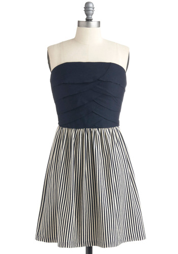 Contest Winner Dress - Blue, White, Stripes, Casual, Urban, A-line, Strapless, Spring, Summer, Nautical, Mid-length