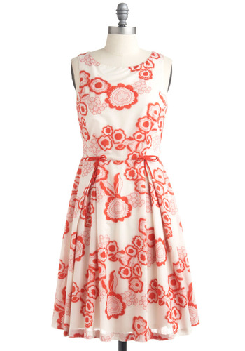 Poppy Star Dress | Mod Retro Vintage Printed Dresses | ModCloth.com :  party frock red and pink pleats retro inspired