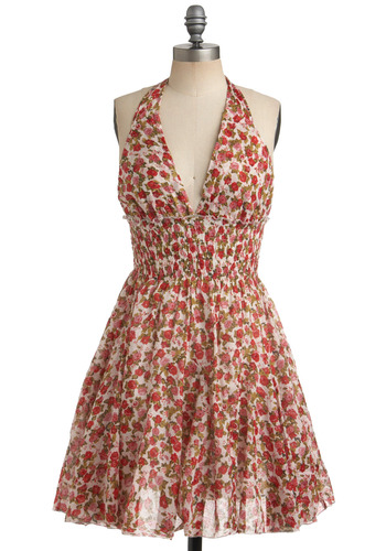 Cannery Rose Dress - Red, Multi, Green, Pink, White, Floral, Casual, Halter, Spring, Summer, Mid-length