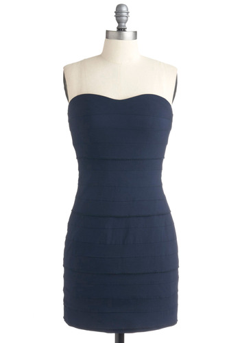 Sip of Syrah Dress - Blue, Solid, Party, Casual, Strapless, Short, Tiered, Girls Night Out