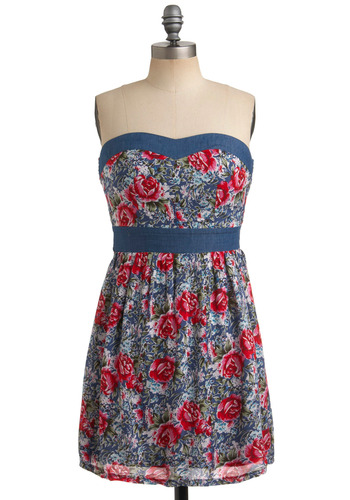 Camp Memories Dress - Multi, Red, Green, Pink, White, Floral, Casual, Strapless, Spring, Summer, Blue, Mid-length