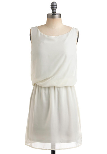 Living Out Cloud Dress - White, Solid, Wedding, Party, Casual, Sheath / Shift, Sleeveless, Short