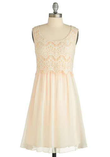 Fair Maiden of Honor Dress - Cream, White, Solid, Lace, Formal, Wedding, Party, A-line, Sleeveless, Tank top (2 thick straps), Mid-length