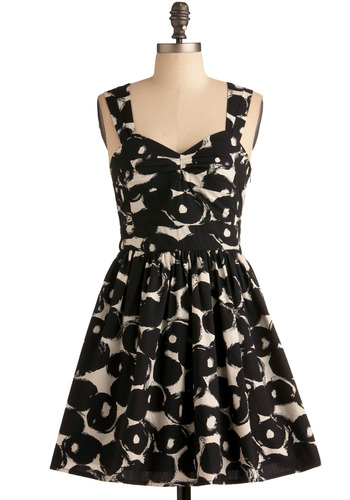 A Lovely Life Dress - Black, White, Print, Cutout, Party, Casual, A-line, Empire, Short