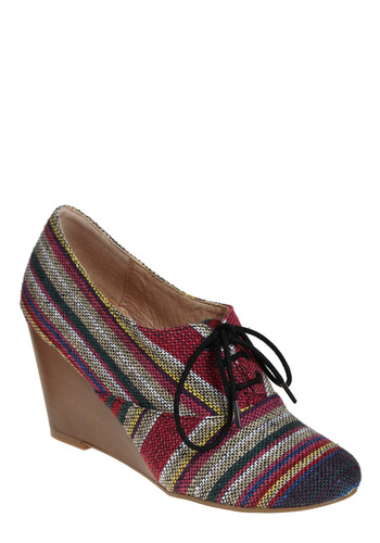 Showered in Compliments Wedge in Tropical Storm - Multi, Stripes, Casual, Wedge