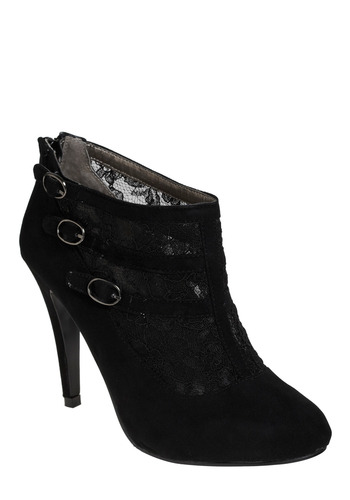 Lace in Point Bootie - Black, Buckles, Lace, Party, Work, Casual, Luxe
