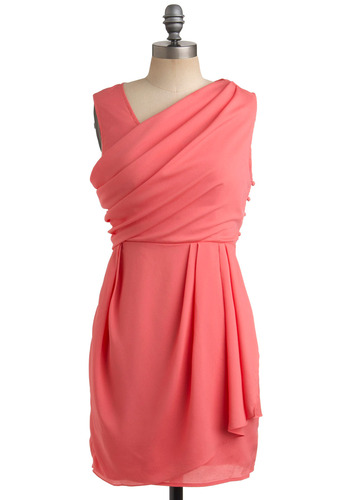 Grapefruit-y Cutie Dress - Pink, Solid, Pleats, Formal, Wedding, Party, Sheath / Shift, Sleeveless, Short