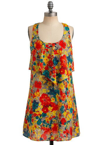 Hue Go, Girl Dress - Multi, Red, Orange, Yellow, Blue, Grey, Floral, Bows, Tiered, Casual, Shift, Tank top (2 thick straps), Racerback, Spring, Summer, Mid-length