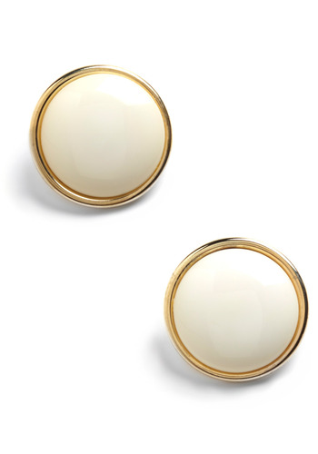 These Are Just White Earrings - White, Gold, Solid, Formal, Party, Work, Casual