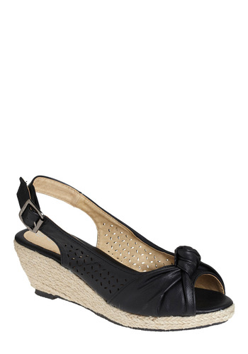 Breezy Does It Sandal - Black, Solid, Bows, Cutout, Casual, Spring, Summer, Wedge