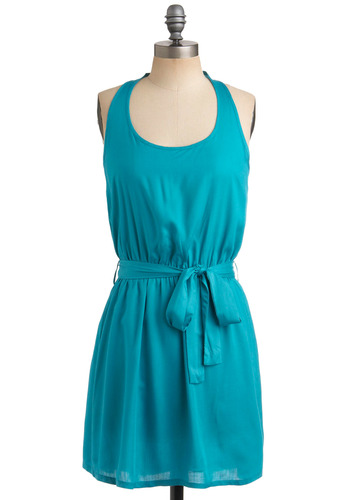 Blue Raspberry Ice Pop Dress - Green, Blue, Solid, Cutout, Casual, A-line, Tank top (2 thick straps), Racerback, Spring, Summer, Mid-length, Scoop
