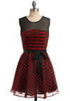 She's Dot Everything Dress - Red, Black, Polka Dots, Pleats, Wedding, Party, Casual, A-line, Sleeveless, Mid-length