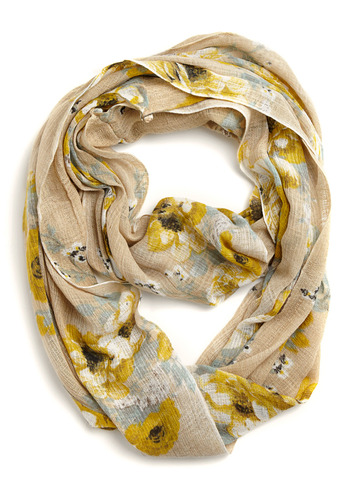 Floral Exam Scarf in Khaki - Tan, Yellow, Blue, White, Floral, Casual, Spring, Summer, Fall