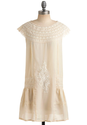 Fancy Treehouse Dress - White, Solid, Embroidery, Lace, Casual, Drop Waist, Shift, Sleeveless, Spring, Summer, Short