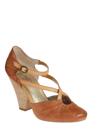 Dolley Heel | Mod Retro Vintage Heels | ModCloth.com :  pumps leather camel cute